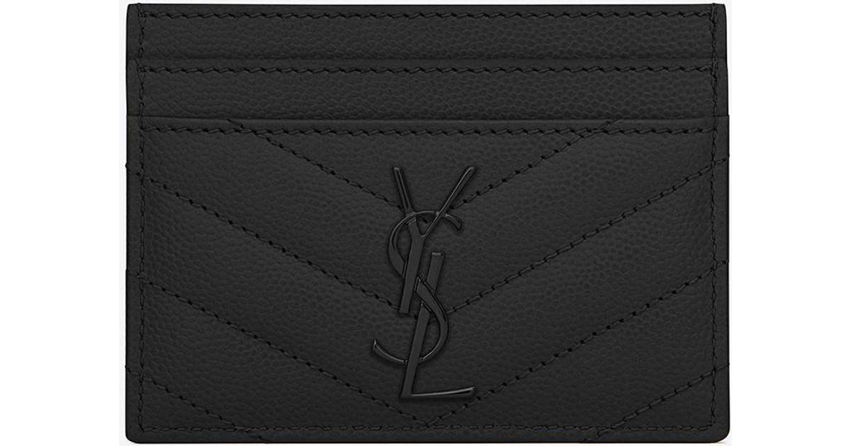 46f9ed8c899 Saint Laurent Monogram Matelassé Leather Credit Card Case in Black - Lyst