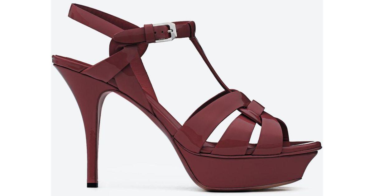 Classic Tribute 75 sandals in burgundy patent leather Saint Laurent BReHQm