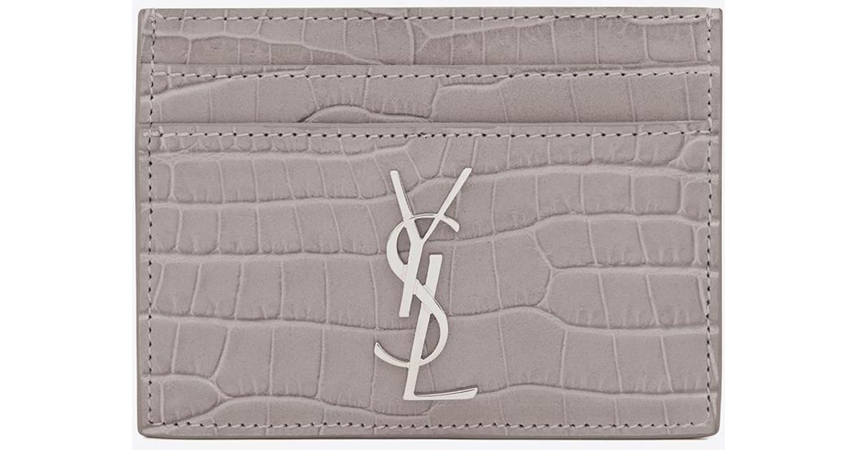 7bc86f6c05b9 Lyst - Saint Laurent Card Case In Mouse-gray Crocodile Embossed Shiny  Leather in Gray