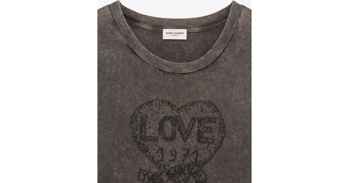 9cb2f67327 Saint Laurent - T-shirt Embroidered With Love 1971 In Faded Black Destroyed  Jersey - Lyst