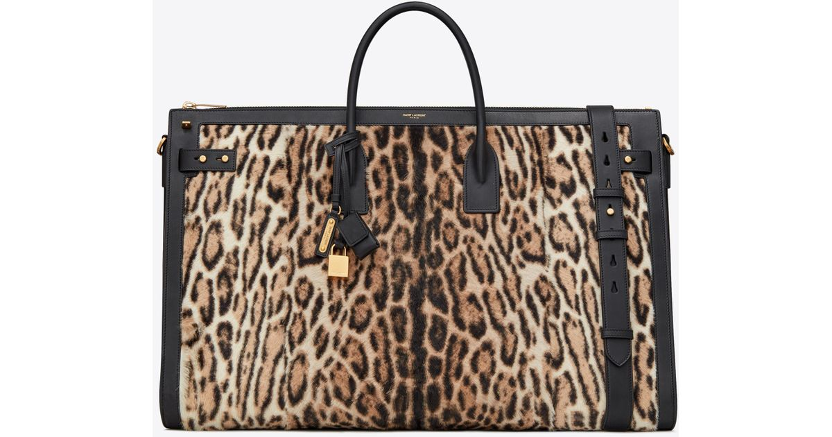 9fd006a07c8 Lyst - Saint Laurent Sac De Jour 72h Duffle Bag In Ocelot Printed Pony  Effect Leather in Natural for Men