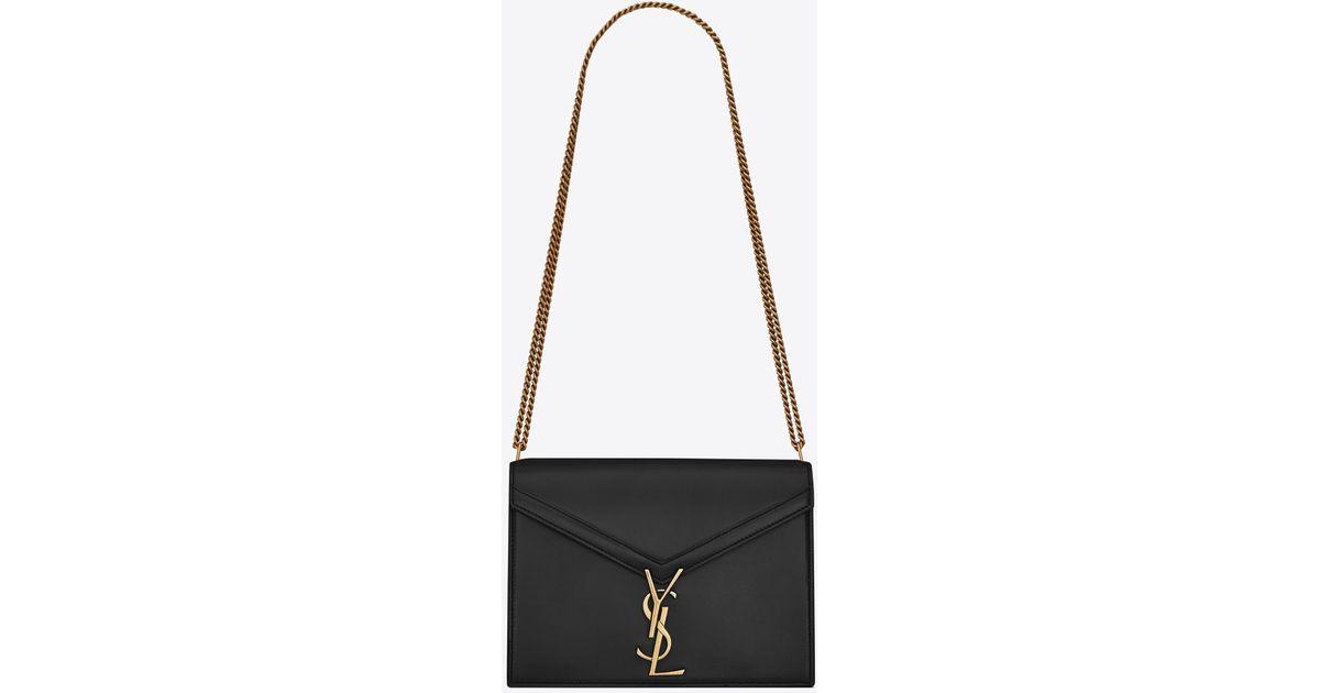 Lyst - Saint Laurent Cassandra Monogram Clasp Bag in Black f3f6ec964f39d