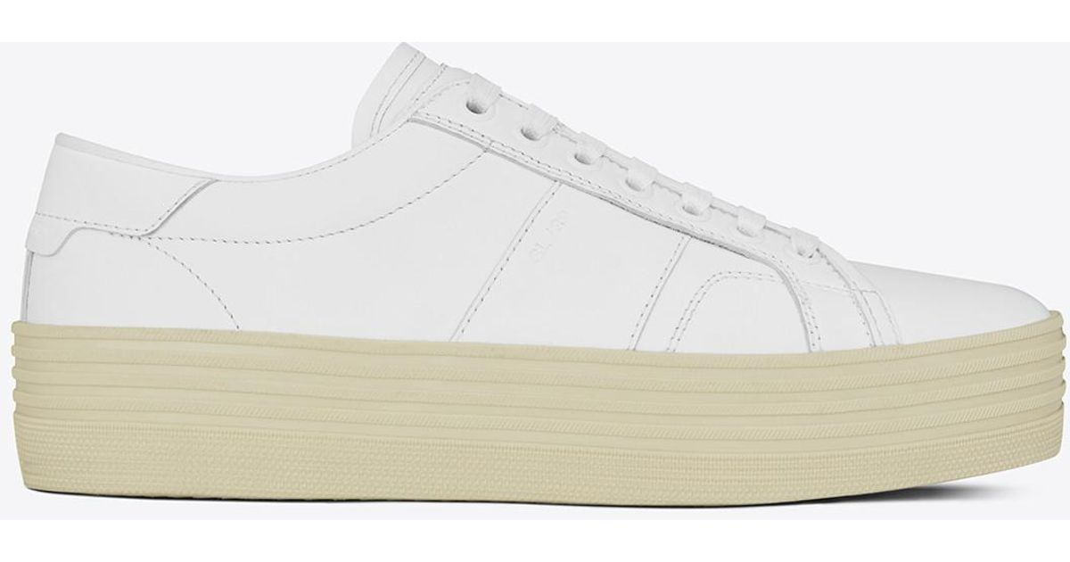 15d60f13224 Lyst - Saint Laurent Signature Court Classic Sl 39 Platform Sneaker In Off  White Leather