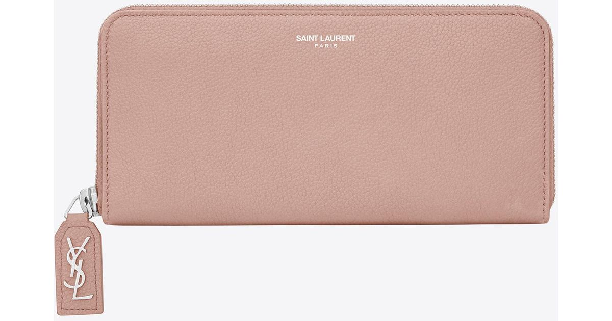 622d1d5199 Saint Laurent - Pink Rive Gauche Zip Around Wallet With D Pull In Pale  Blush Grained Leather - Lyst