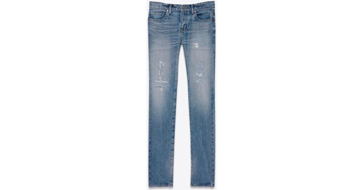 ba947df897ff Lyst - Saint Laurent Original Low Waisted Repaired Skinny Jean In Clear  Blue Selvedge Denim in Blue for Men