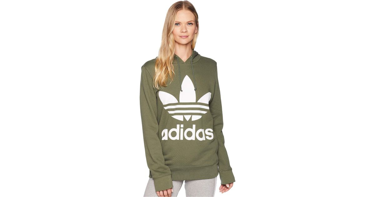 Lyst - adidas Originals Trefoil Hoodie (black 2) Women s Long Sleeve  Pullover in Green f6891d7da