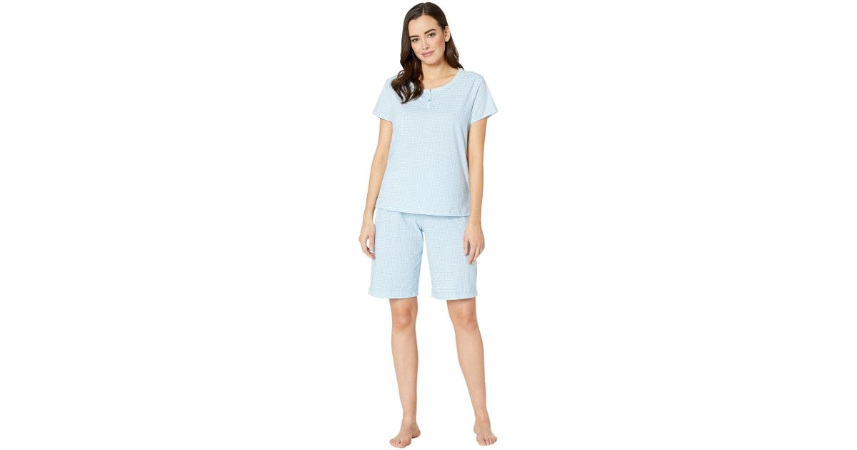 38b97d2741 Lyst - Karen Neuburger Dreamer Short Sleeve Bermuda Set (gingham blue)  Women s Pajama Sets in Blue