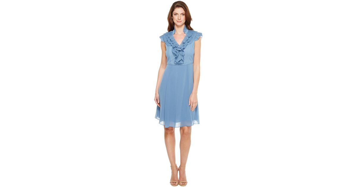 fe573efd0ad Lyst - Adrianna Papell Chiffon Fit And Flare Dress With Pleated Ruffle  Collar V-neckline in Blue - Save 10%
