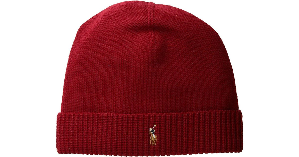 Lyst - Polo Ralph Lauren Classic Lux Merino Cuff Hat in Red for Men 2bf33c929277