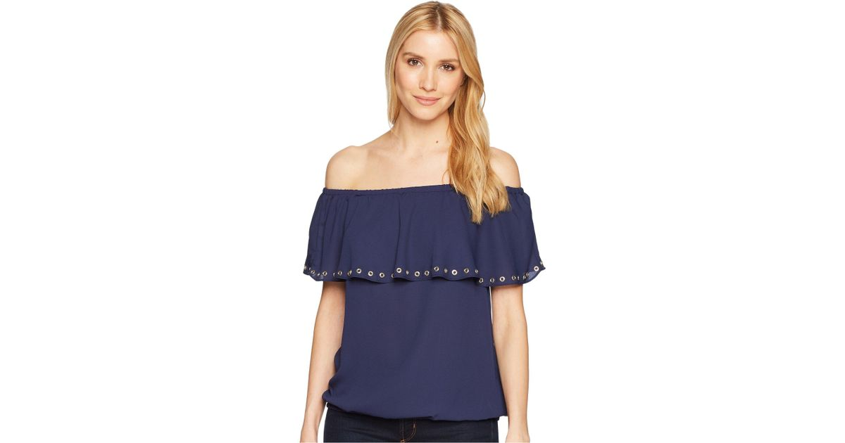 c595ee11a61 MICHAEL Michael Kors Ruffle Off Shoulder Top (true Navy) Clothing in Blue -  Save 12% - Lyst