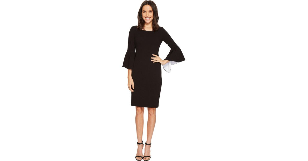 cd5b6aac1d92ad Calvin Klein Ruffle Bell Sleeve Sheath With Contrast Lining In Sleeve  Cd8c14gy (black/white) Women's Dress in Black - Lyst