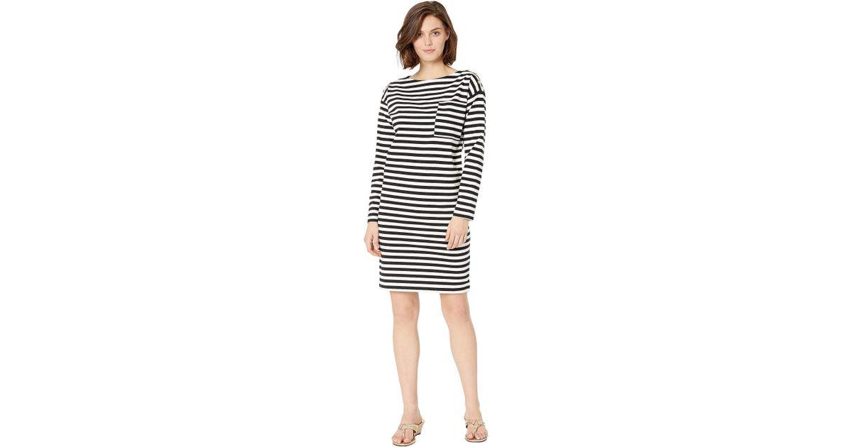 469f855752c8 Lauren by Ralph Lauren Cotton Striped T-shirt Dress (polo Black/silk White) Women's  Dress in White - Lyst