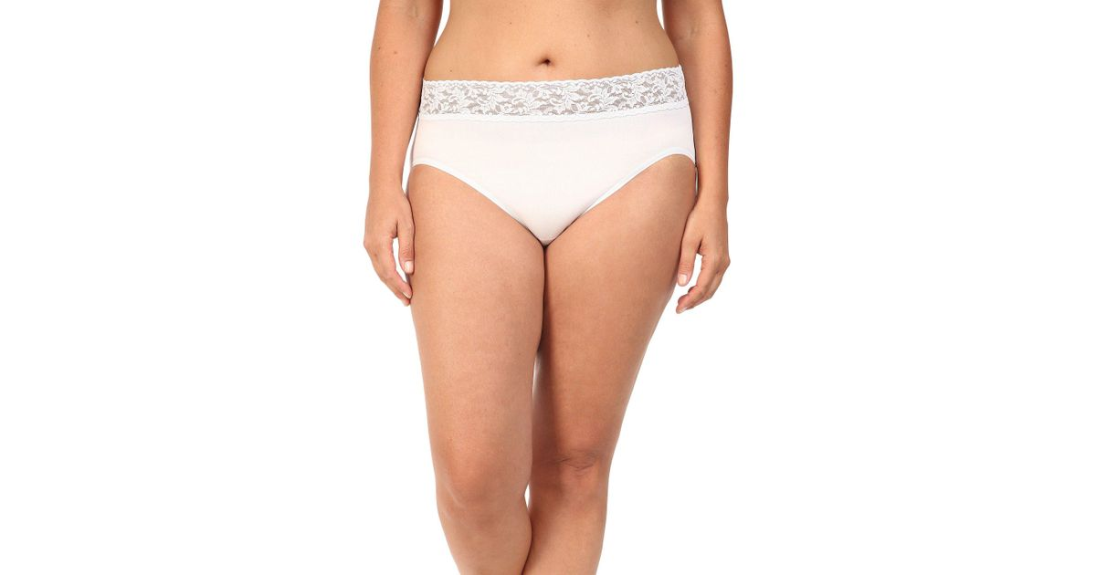 22150ebc7f9 Hanky Panky Plus Size Organic Cotton Signature Lace French Brief in White -  Lyst
