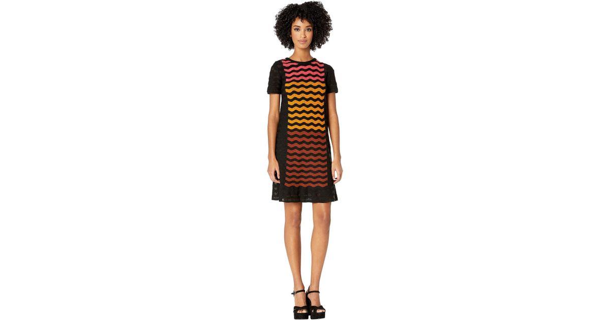 52d2770322 M Missoni Ripple Intarsia Short Sleeve Dress in Black - Save 23% - Lyst
