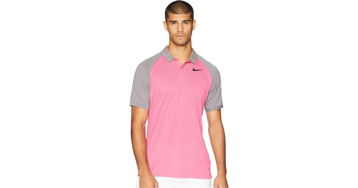 2e0cdad1f Nike Dry Polo Raglan in Pink for Men - Lyst