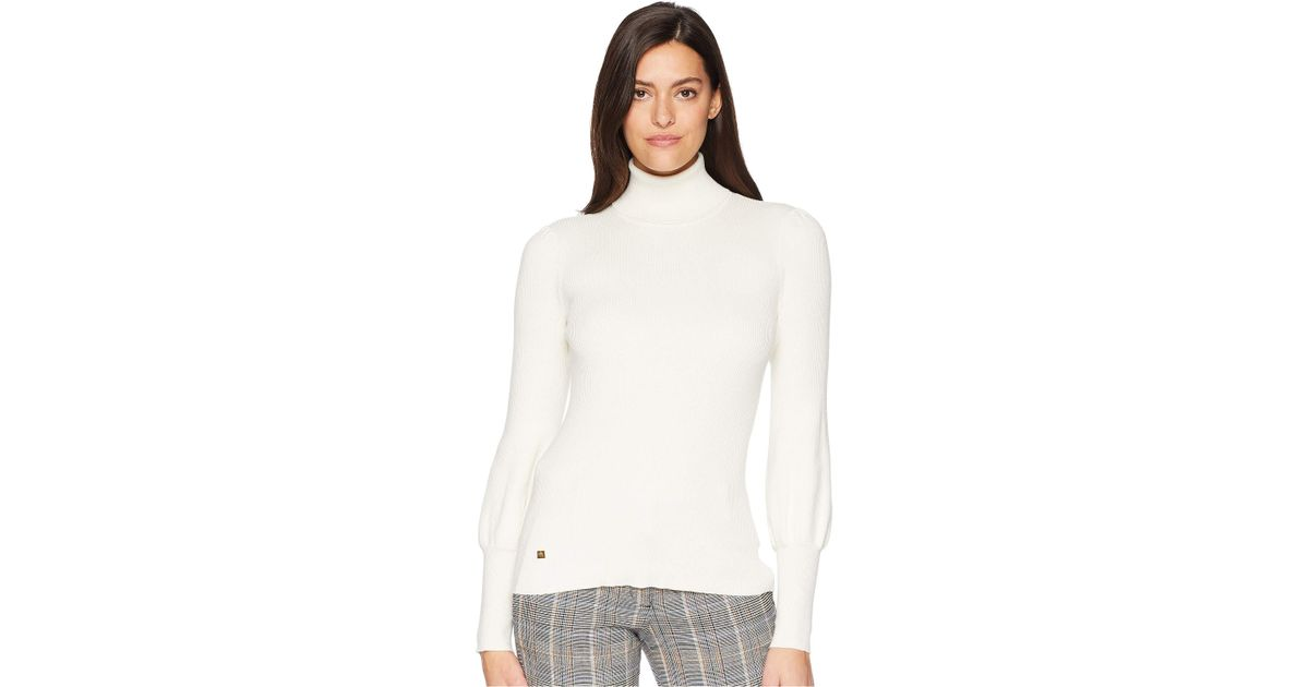 1b942fbef67cd Lyst - Lauren by Ralph Lauren Ribbed Puff-sleeve Sweater in White