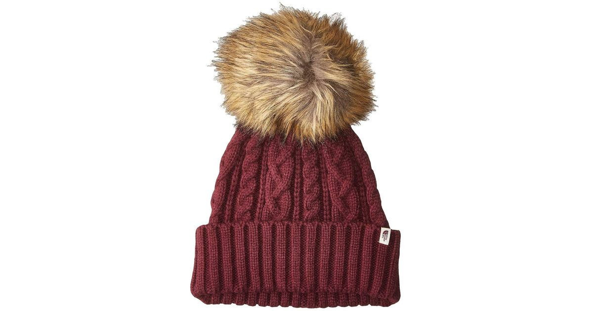 972ae56fa11 Lyst - The North Face Oh-mega Fur Pom Beanie (fig) Beanies in Red