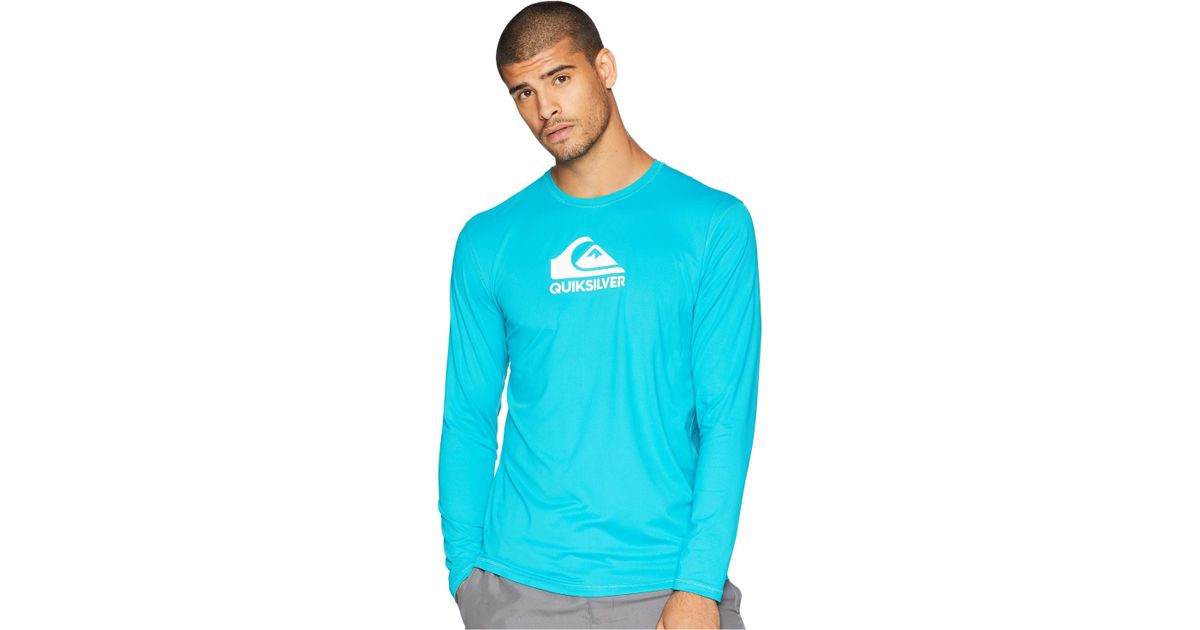 Quiksilver Mens Solid Streak Long Sleeve Rashguard Clothing, Shoes, Accessories Ocean Blue