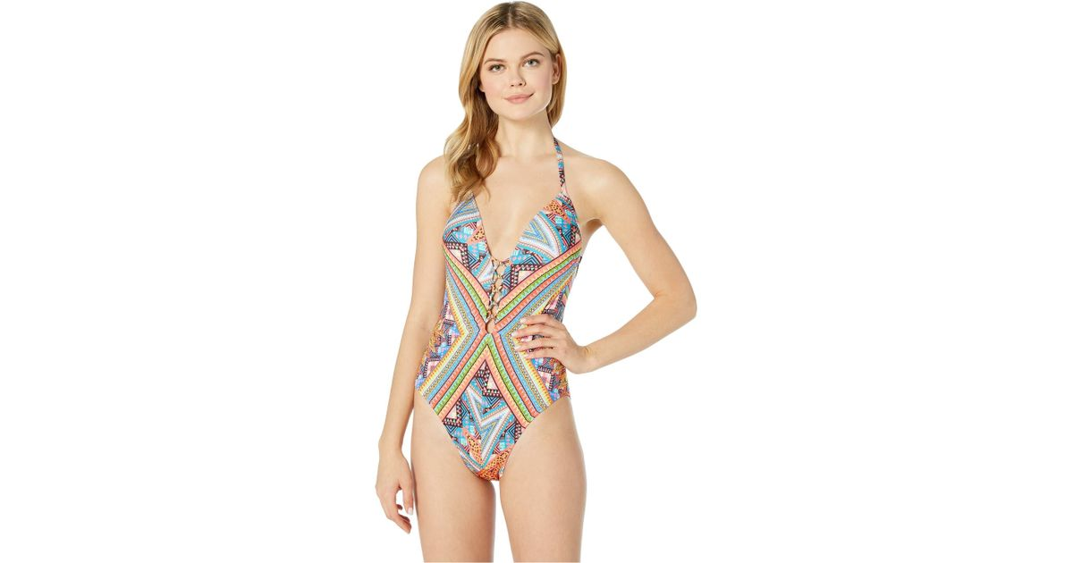 ab960673885 Kenneth Cole Arabesque Push-up Mio One-piece in Blue - Lyst