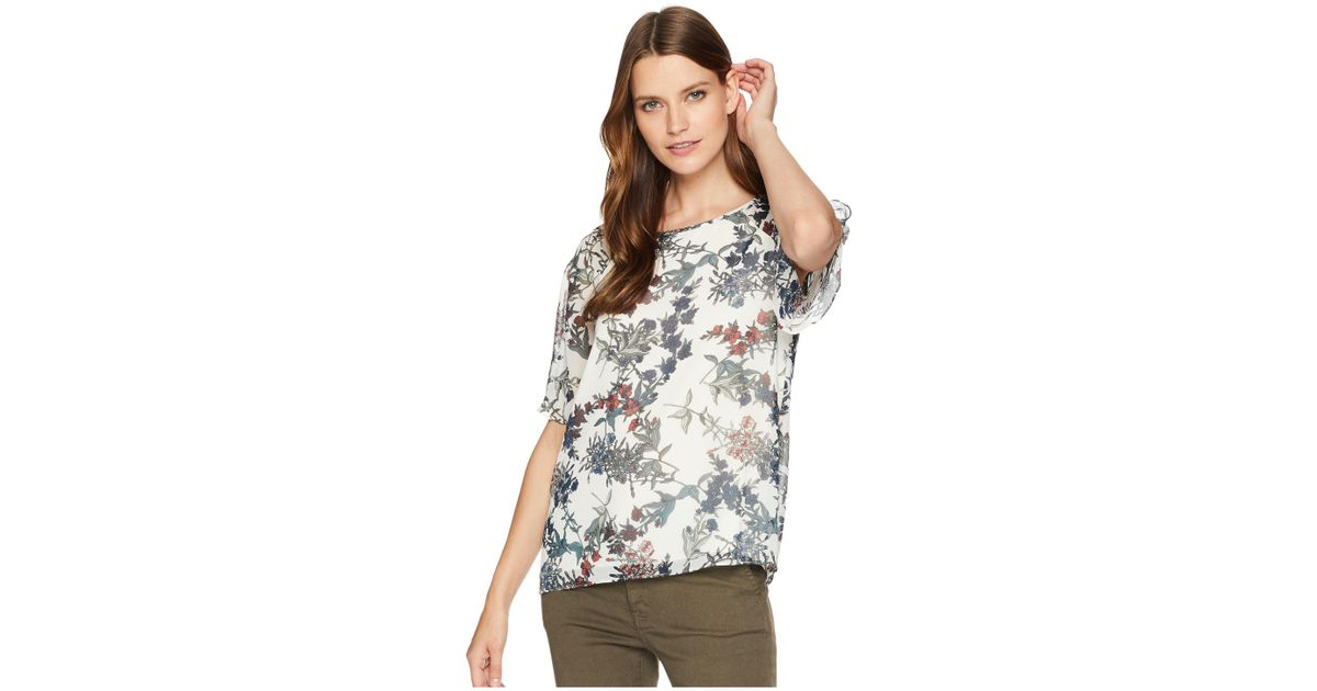 4e559af7342355 Vince Camuto Ruffled Short Sleeve Garden Heirloom Floral Blouse (antique  White) Blouse in White - Save 56% - Lyst