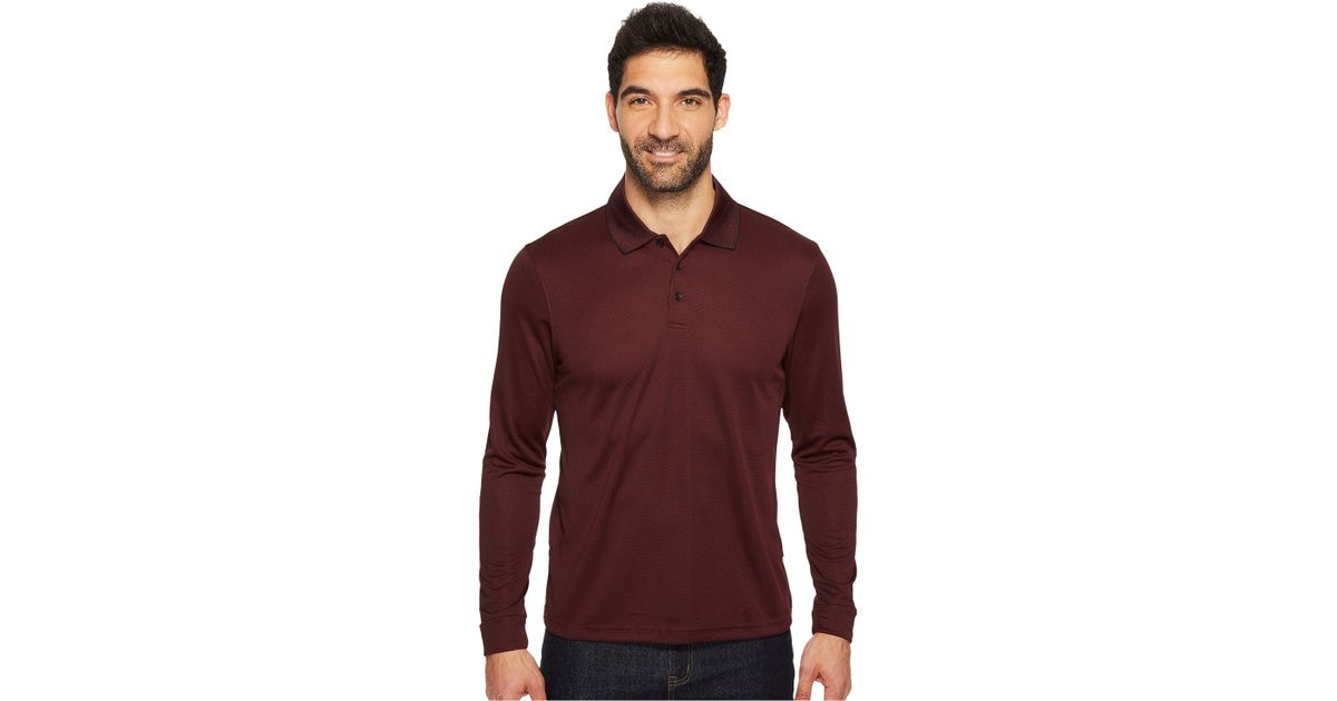 4b7e315c Perry Ellis Three-button Long Sleeve Jacquard Polo (ink) Men's Long Sleeve  Pullover in Red for Men - Lyst