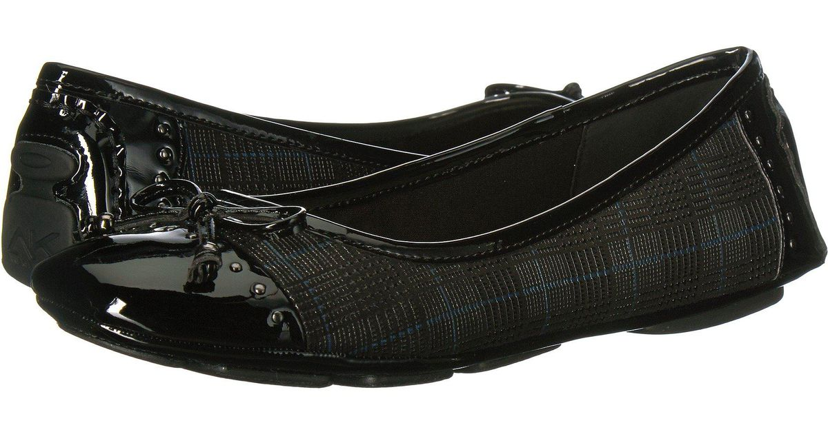 44d16c7264b Lyst - Anne Klein Buttons Flat (black Reptile) Women s Flat Shoes in Black