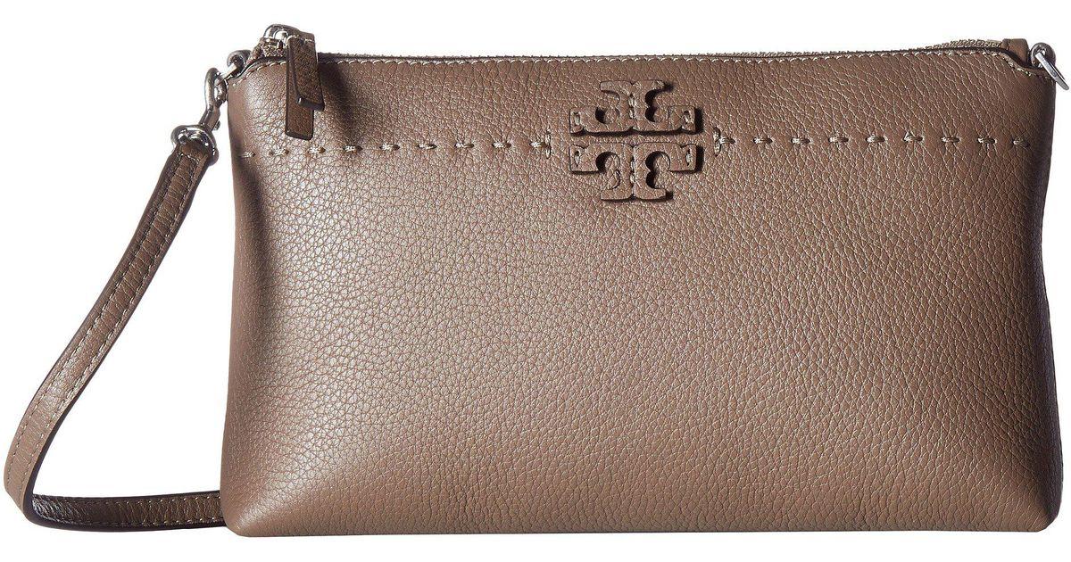 397442e2cfcb Lyst - Tory Burch Mcgraw Top Zip Crossbody (black) Cross Body Handbags in  Brown