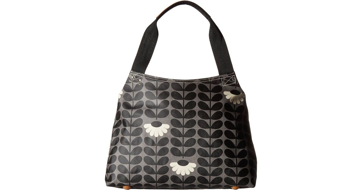 Lyst - Orla Kiely Wild Daisy Print Classic Zip Shoulder Bag in Black cef62714066a3