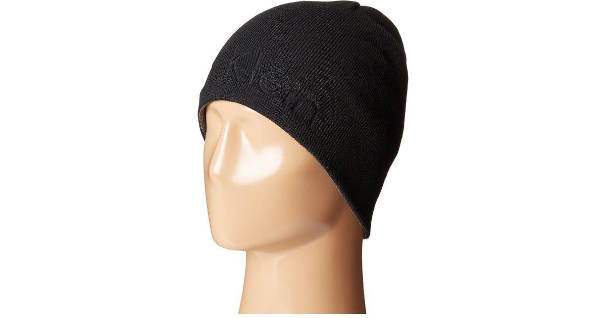 9167aef76ba Lyst - Calvin Klein Embossed Logo Beanie in Black for Men