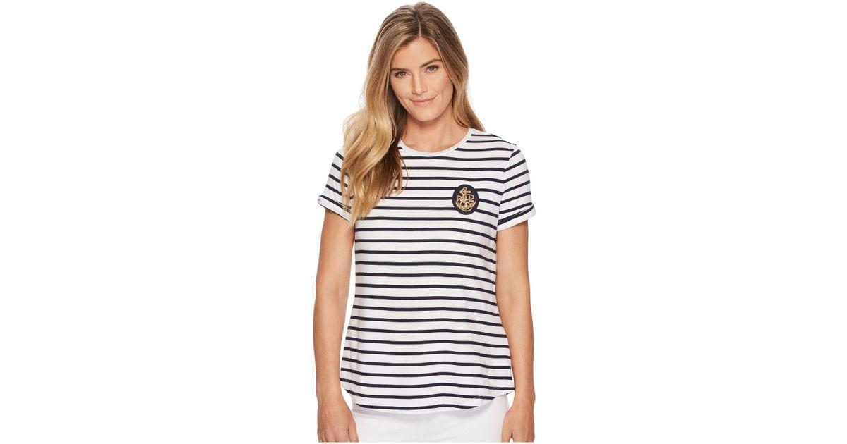 771dbd0b22b6b Lyst - Lauren by Ralph Lauren Bullion-patch Striped T-shirt in Blue