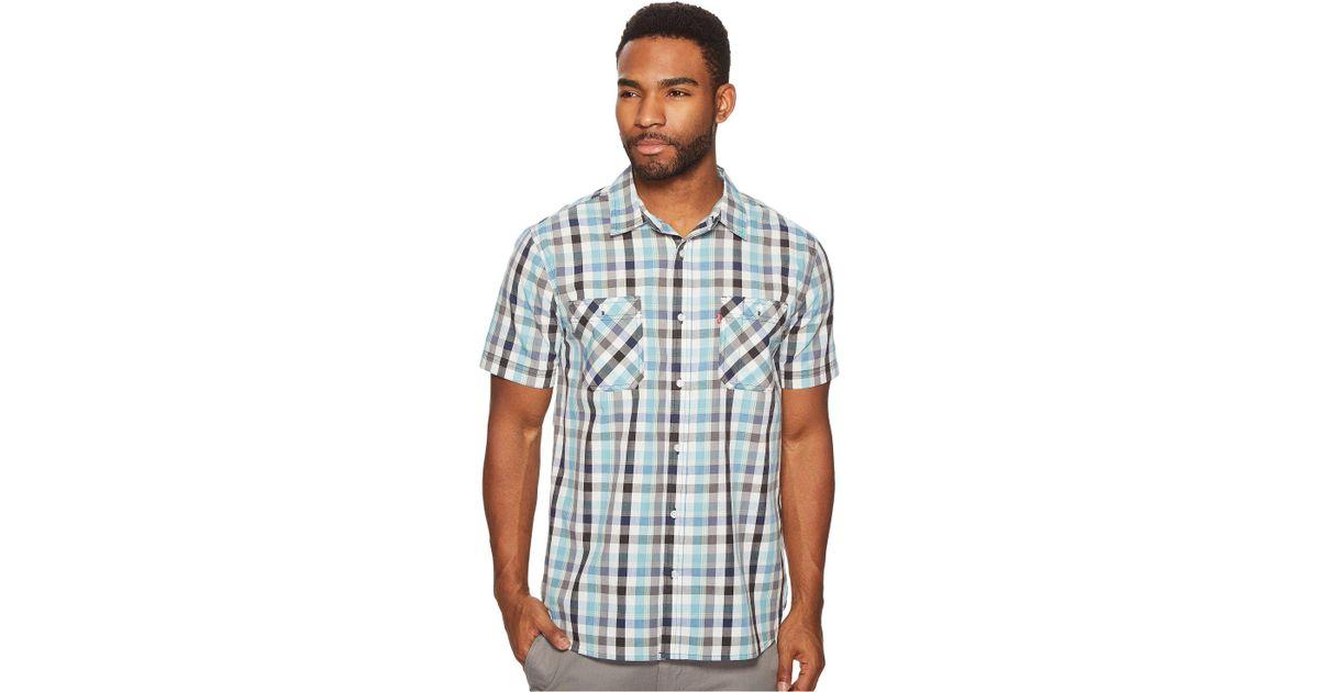 6828d6726e Lyst - Levi s Barrington Short Sleeve Plaid Shirt in Blue for Men - Save 23%