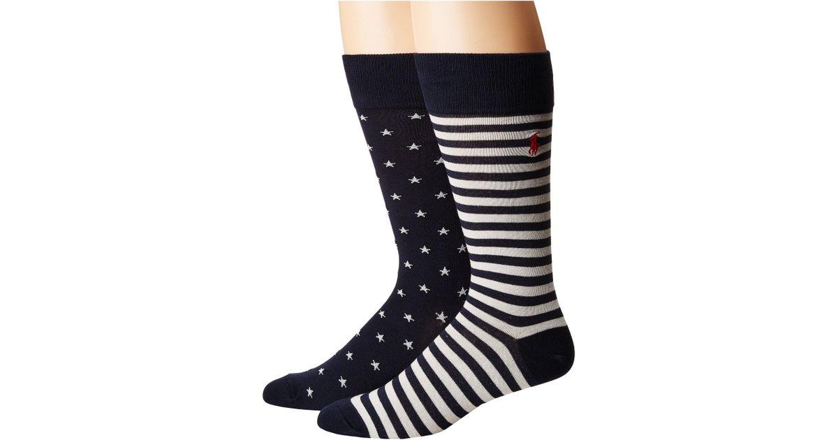 db8402893570 Lyst - Polo Ralph Lauren Stars Stripes 2-pack Socks (navy) Men s Crew Cut  Socks Shoes in Blue for Men