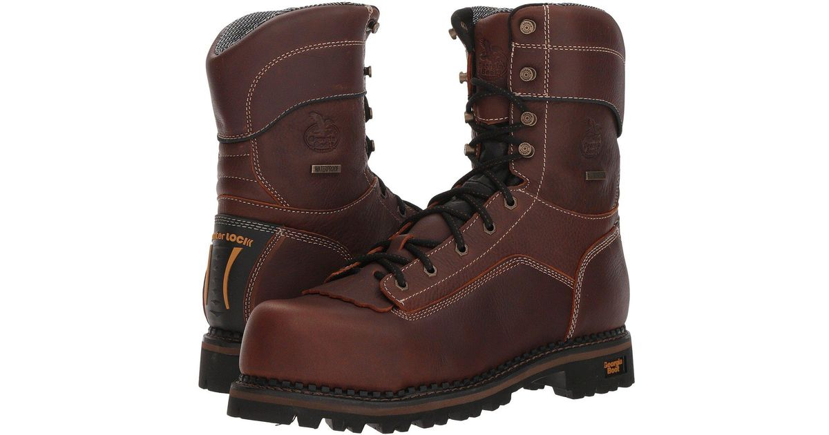 50658be1adf Georgia Boot - Logger 9 Low Heel Comp Toe Waterproof (brown) Men's Work  Boots for Men - Lyst
