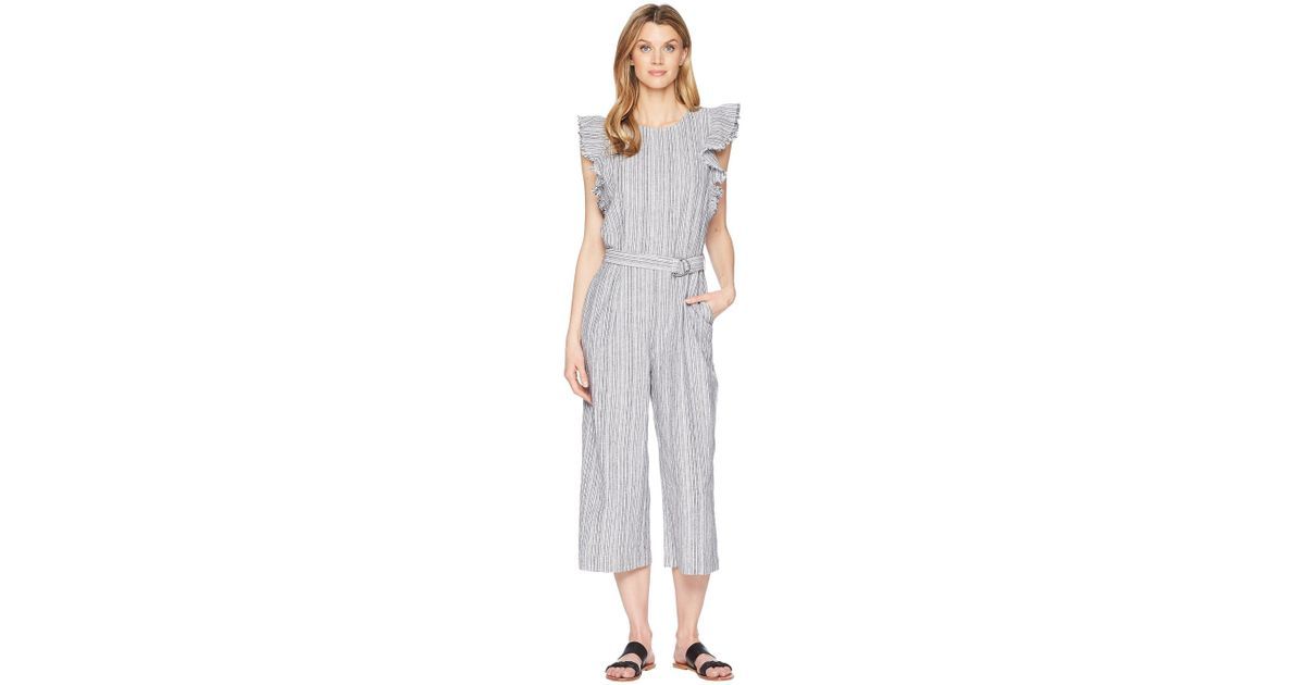 6945fde46f8 Lyst - Two By Vince Camuto Ruffled Sleeveless Belted Stripe Linen Jumpsuit