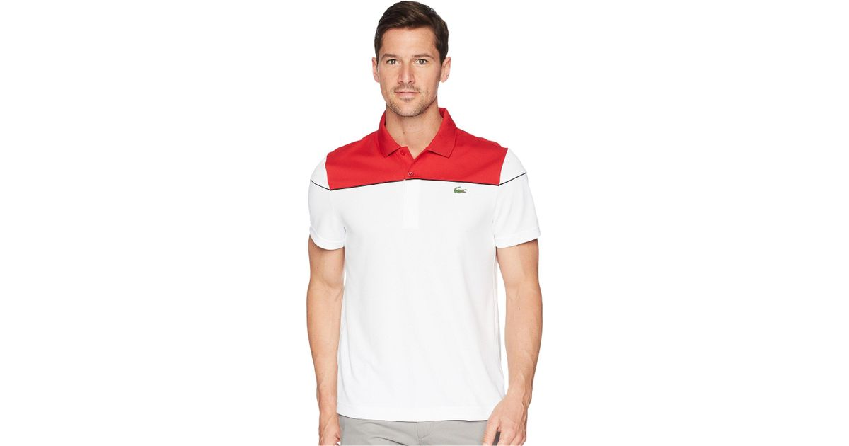 bb62f17349 Lacoste Short Sleeve Pique Ultra Dry W/ Color Block Yoke & Contrast Piping  in Red for Men - Lyst