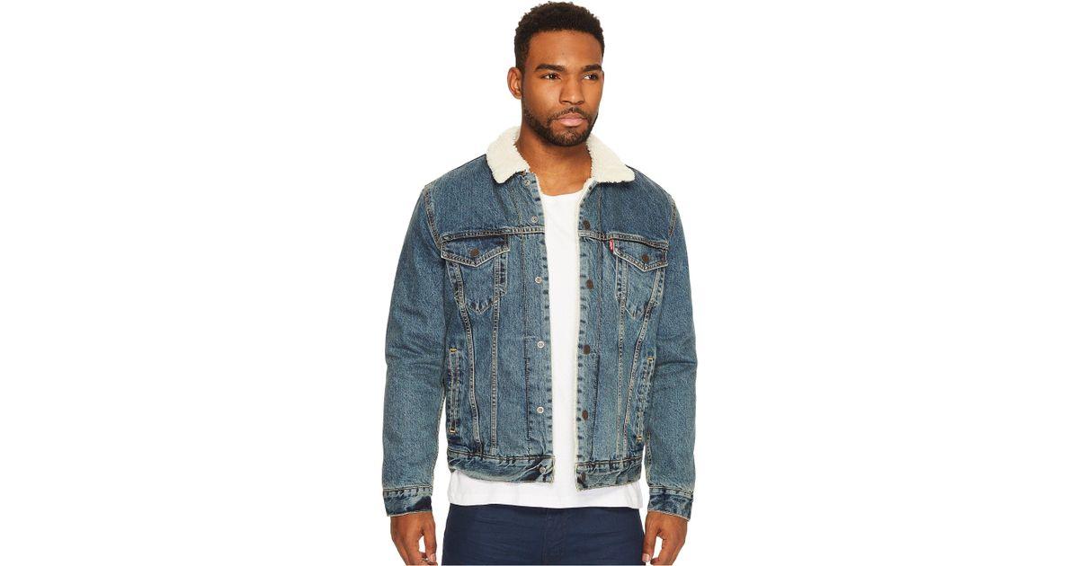 b6b5b2ffe659 Lyst - Levi s Levi s(r) Mens Type Iii Sherpa Trucker Jacket (mays) Men s  Coat in Blue for Men