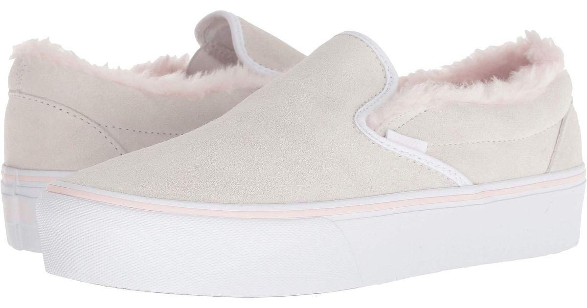 5f2c44594fec Lyst - Vans Women Classic Slip-on Platform Suede Sneakers