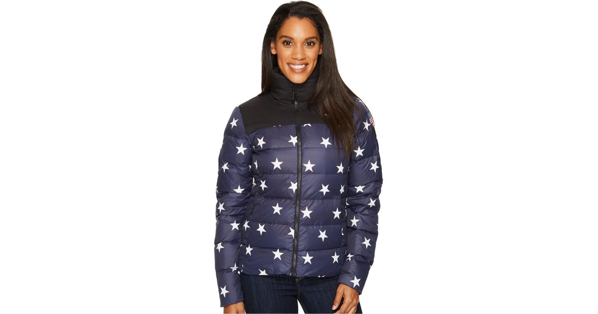 b06af2bc94aa Lyst - The North Face International Collection Nuptse Jacket (cosmic Blue  Star Print) Women s Coat in Blue