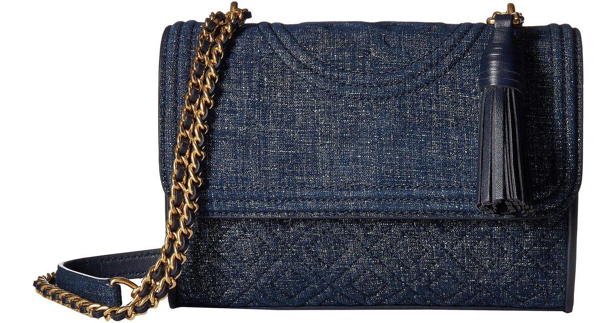 de0f2c9b650 Lyst - Tory Burch Fleming Denim Suede Small Convertible Shoulder Bag in Blue
