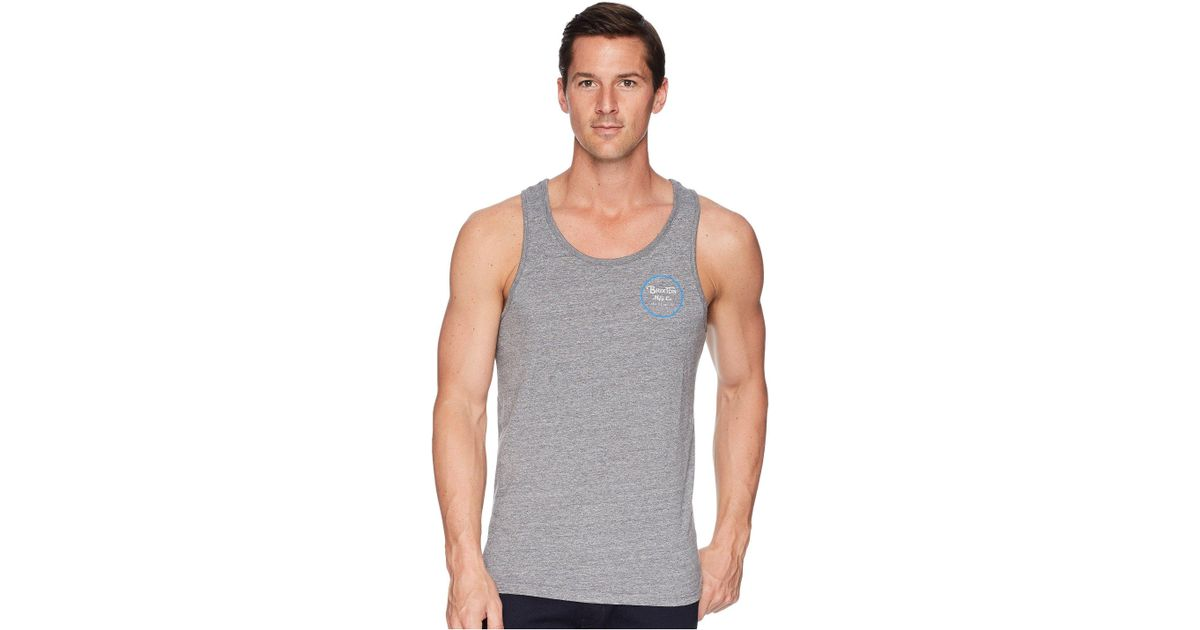 0bd435c4f651c Lyst - Brixton Wheeler Tailored Fit Tank Top in Gray for Men - Save 59%