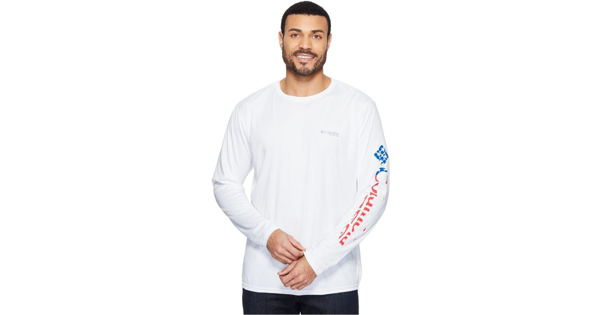 9acc60be4cd Columbia Terminal Tackle Pfg Long Sleeve Shirt (white/stars And Stripes)  Men's Long Sleeve Pullover in White for Men - Lyst