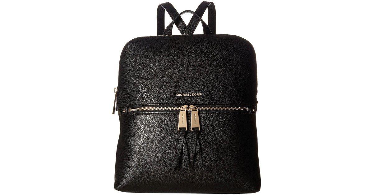 3d745412fbc6 MICHAEL Michael Kors Rhea Zip Medium Slim Backpack (black) Backpack Bags in  Black - Lyst