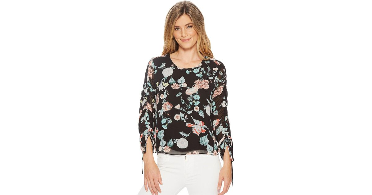 c922531c4f5 Lyst - Vince Camuto Drawstring Sleeve Floral Gardens Blouse in Black - Save  35%