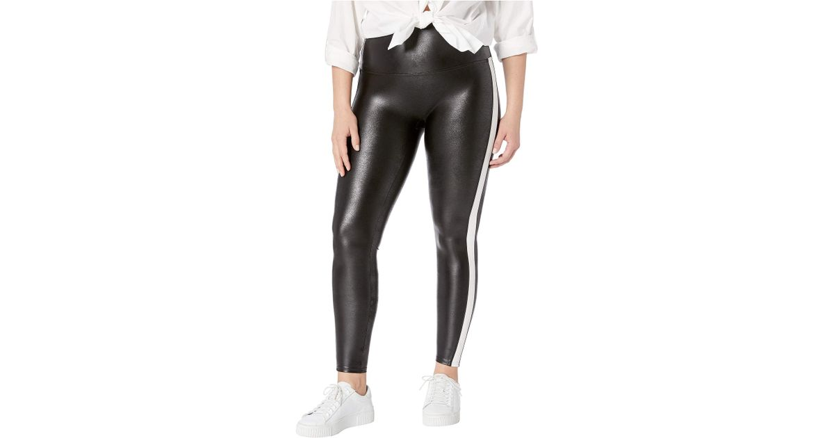d54482bdae23a Spanx Plus Size Faux Leather Side Stripe Leggings (very Black/white) Women's  Casual Pants in Black - Lyst