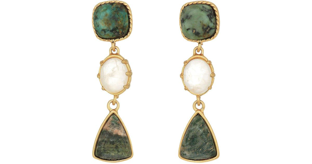 a4c05b5380b4 Lyst - Lauren By Ralph Lauren Linear Stone Drop Earrings in Metallic
