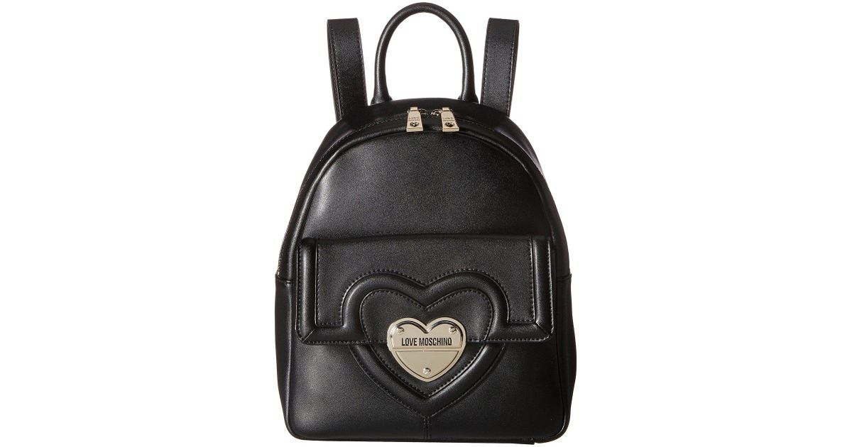 acf1facbb0 Love Moschino Leather Mini Backpack in Black - Lyst