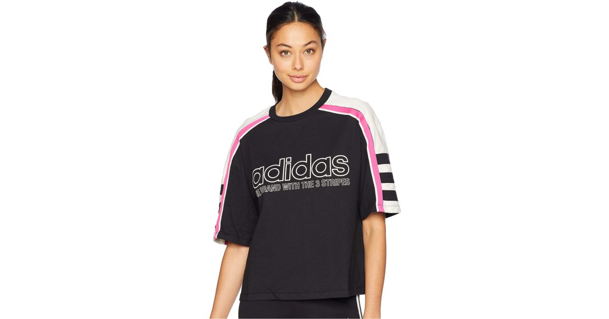 85976151a221ac Lyst - adidas Originals Racing Aa-43 Cropped Tee (black) Women s T Shirt in  Black