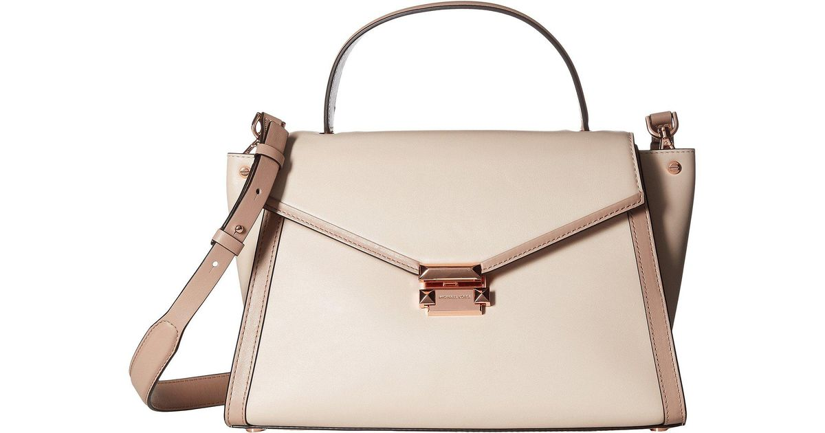 Lyst Michael Kors Whitney Large Top Handle Satchel Soft Pink Fawn Handbags In