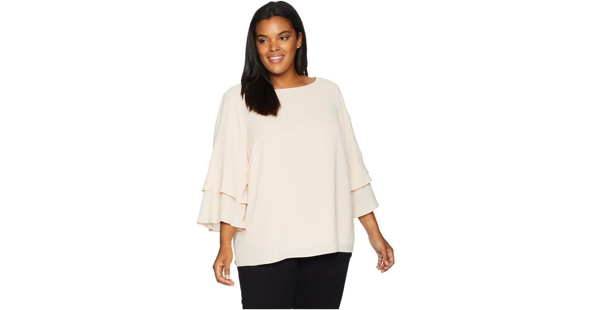 802e7d8c0c1 Lyst - Calvin Klein Plus Size 3 Tier Sleeve Textured Blouse (blush) Women s  Blouse
