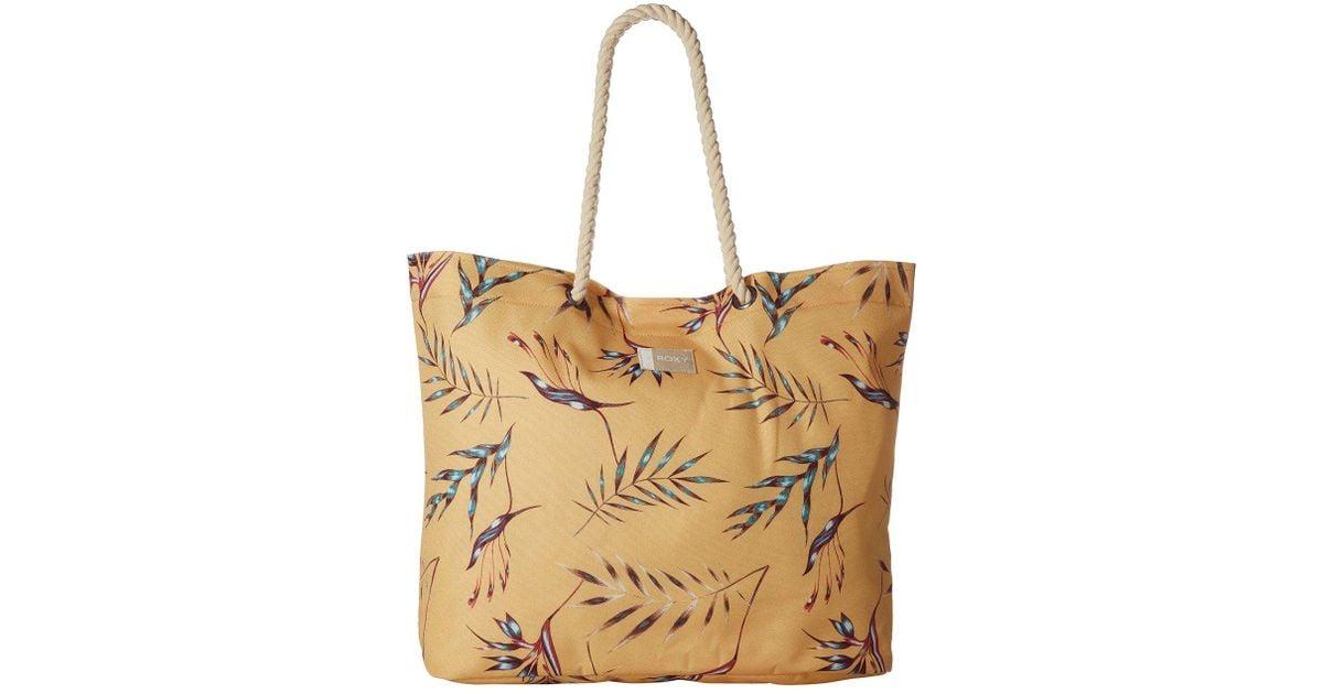 Lyst Roxy Tropical Vibe Printed Beach Bag Buff Yellow Swim Stormy Flowers Tote Handbags